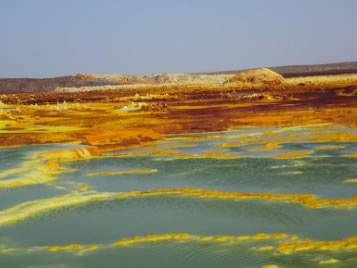 Colorful oxidisation of the minerals brought to the surface by the hot springs at Dallol, Ethiopia