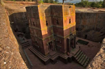 Carved out of a single sold rock, the 12th century rock-hewn church of Bete Gyorgis at Lalibela